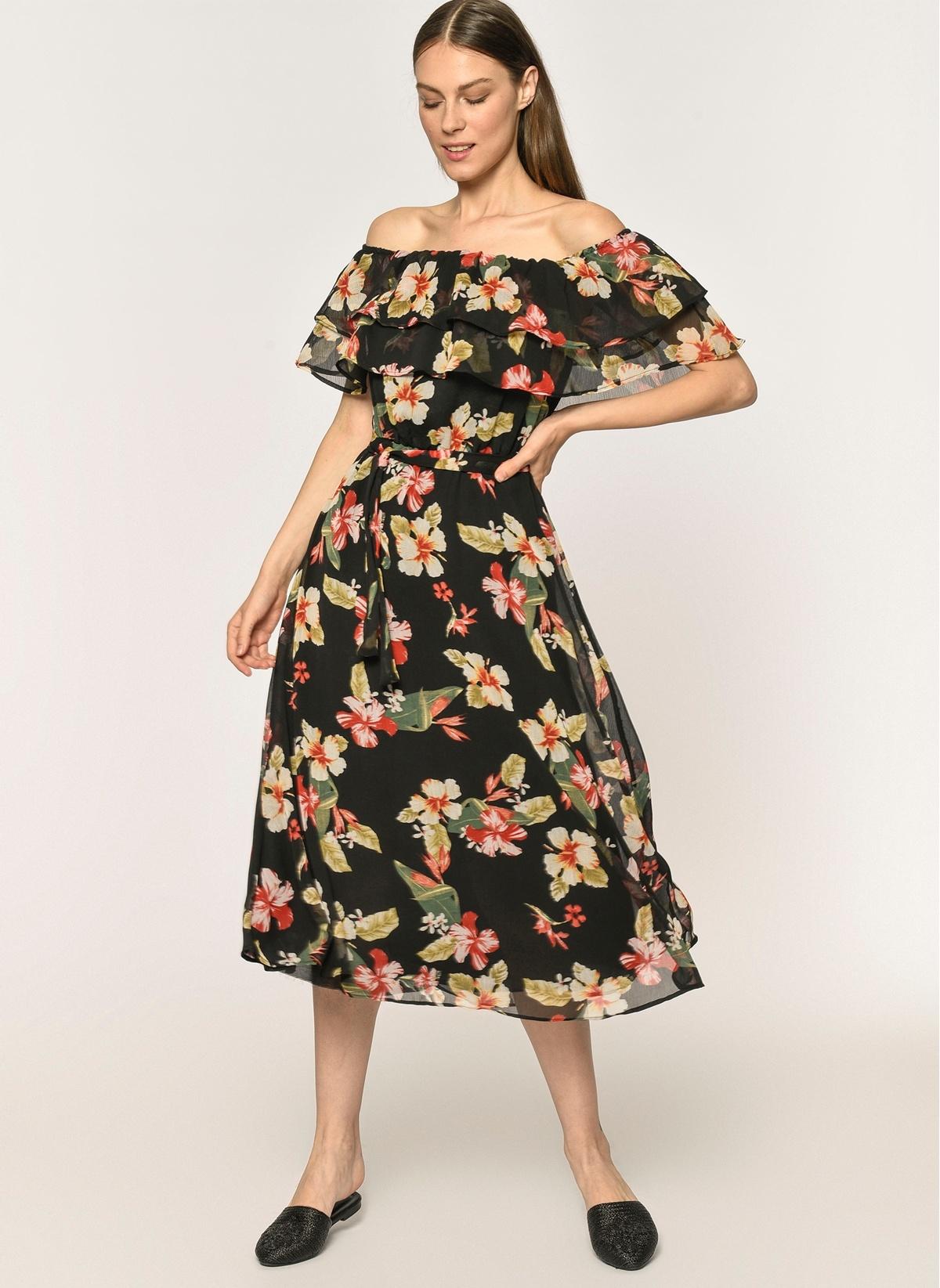 b24bb3c154a77 Loves You Askılı Safari Çiçek Desenli Elbise